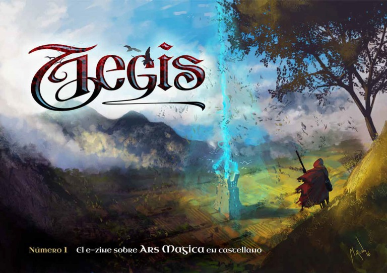 view of a magical tower from a hill, the beautiful cover of Aegis magazine